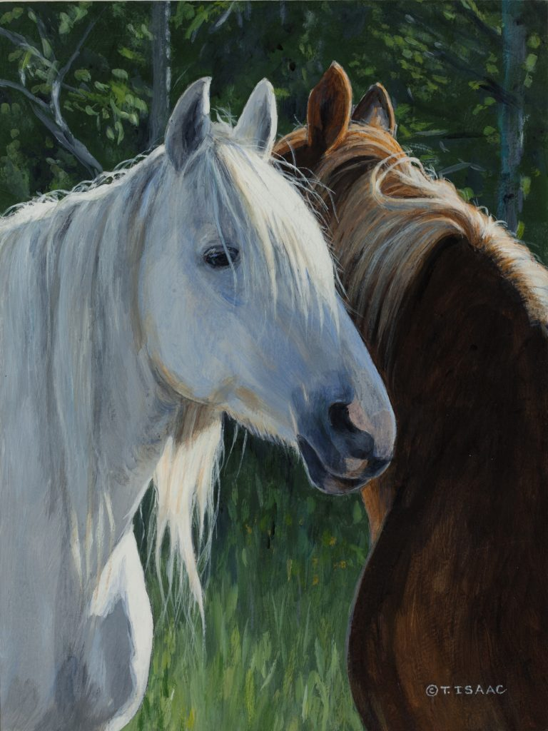 Horse Whispering - original by Terry Isaac - 9 x 12""