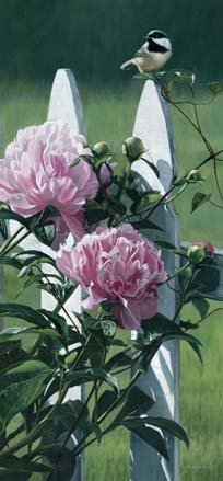 Chickadee and Peonies by Terry Isaac